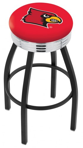 Louisville Cardinals Black Swivel Barstool with Chrome Ribbed Ring