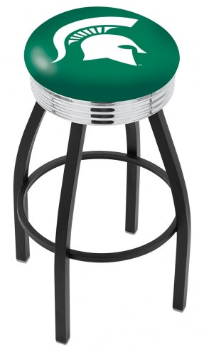 Michigan State Spartans Black Swivel Barstool with Chrome Ribbed Ring