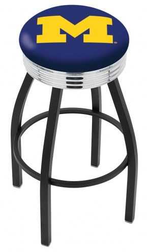 Michigan Wolverines Black Swivel Barstool with Chrome Ribbed Ring