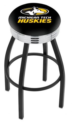 Michigan Tech Huskies Black Swivel Barstool with Chrome Ribbed Ring