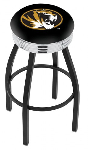 Missouri Tigers Black Swivel Barstool with Chrome Ribbed Ring