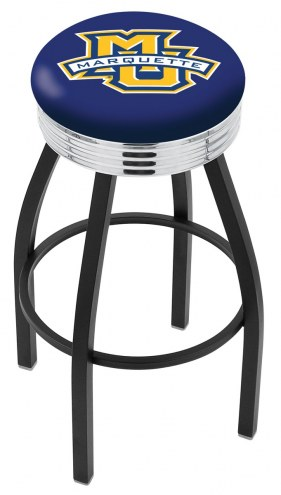 Marquette Golden Eagles Black Swivel Barstool with Chrome Ribbed Ring