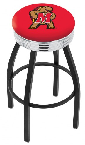 Maryland Terrapins Black Swivel Barstool with Chrome Ribbed Ring