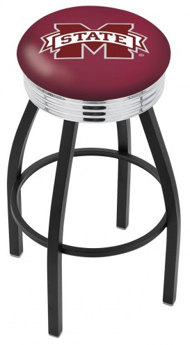 Mississippi State Bulldogs Black Swivel Barstool with Chrome Ribbed Ring