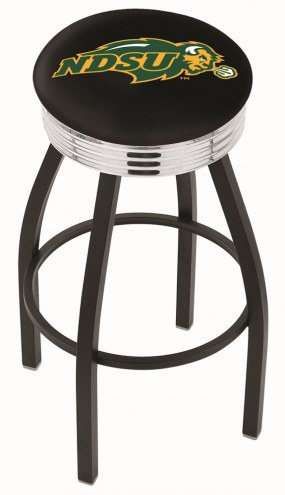 North Dakota State Bison NCAA Black Swivel Barstool with Chrome Ribbed Ring