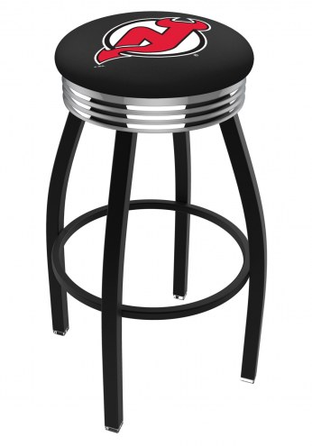 New Jersey Devils Black Swivel Barstool with Chrome Ribbed Ring