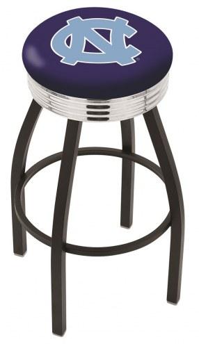North Carolina Tar Heels Black Swivel Barstool with Chrome Ribbed Ring