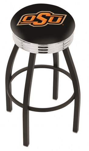 Oklahoma State Cowboys Black Swivel Barstool with Chrome Ribbed Ring