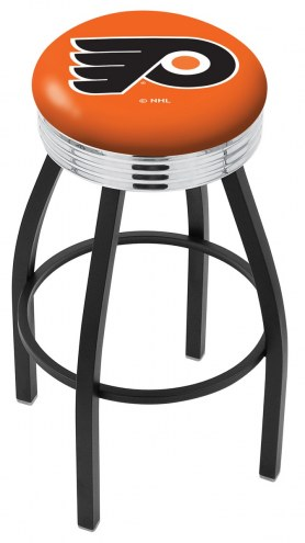 Philadelphia Flyers NHL Black Swivel Barstool with Chrome Ribbed Ring
