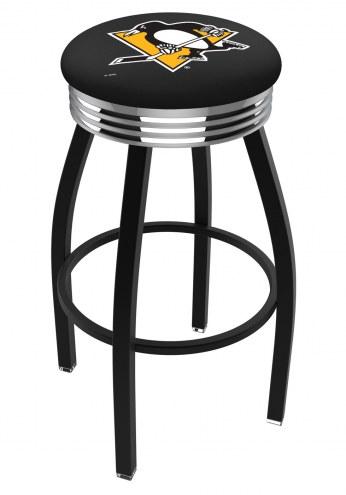 Pittsburgh Penguins Black Swivel Barstool with Chrome Ribbed Ring