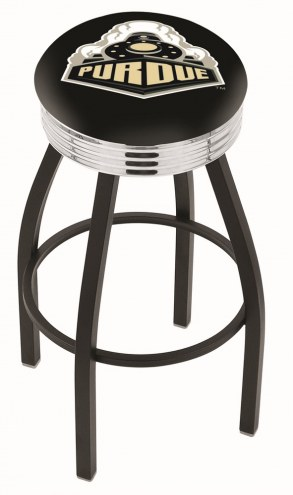 Purdue Boilermakers Black Swivel Barstool with Chrome Ribbed Ring