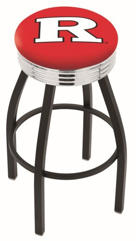 Rutgers Scarlet Knights Black Swivel Barstool with Chrome Ribbed Ring
