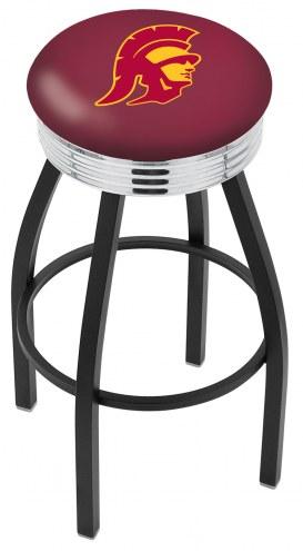 USC Trojans Black Swivel Barstool with Chrome Ribbed Ring