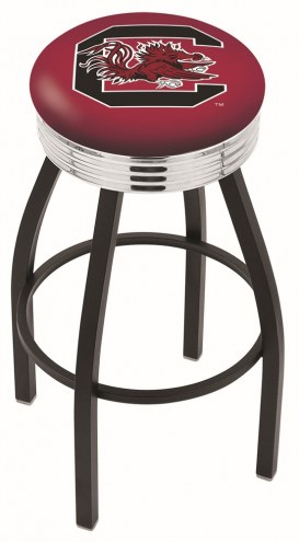 South Carolina Gamecocks Black Swivel Barstool with Chrome Ribbed Ring