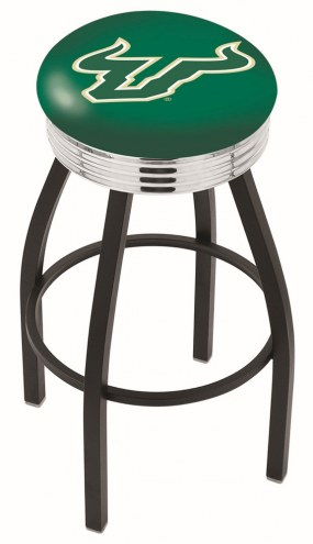 South Florida Bulls Black Swivel Barstool with Chrome Ribbed Ring