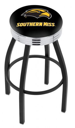 Southern Mississippi Golden Eagles Black Swivel Barstool with Chrome Ribbed Ring