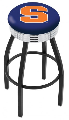 Syracuse Orange Black Swivel Barstool with Chrome Ribbed Ring