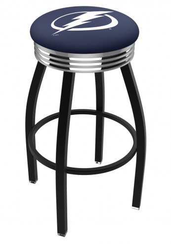 Tampa Bay Lightning Black Swivel Barstool with Chrome Ribbed Ring