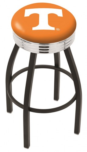 Tennessee Volunteers Black Swivel Barstool with Chrome Ribbed Ring