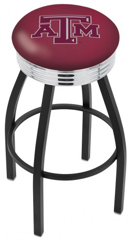 Texas A&M Aggies Black Swivel Barstool with Chrome Ribbed Ring