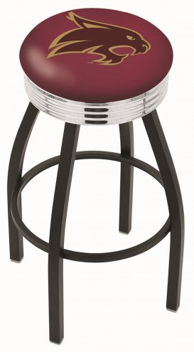 Texas State Bobcats Black Swivel Barstool with Chrome Ribbed Ring