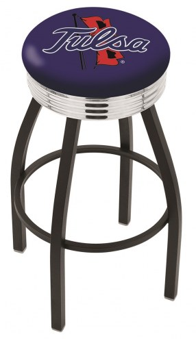 Tulsa Golden Hurricane Black Swivel Barstool with Chrome Ribbed Ring