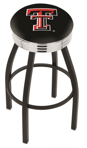 Texas Tech Red Raiders Black Swivel Barstool with Chrome Ribbed Ring