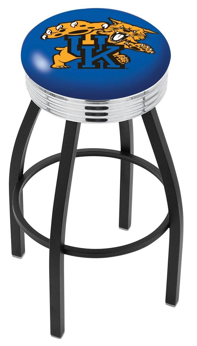 Kentucky Wildcats Black Swivel Barstool With Chrome Ribbed