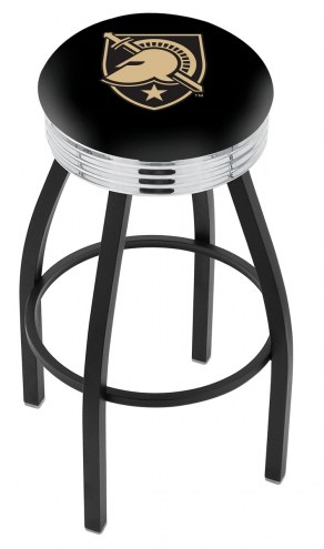 Army Black Knights Black Swivel Barstool with Chrome Ribbed Ring