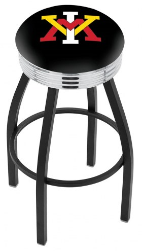 Virginia Military Institute Keydets Black Swivel Barstool with Chrome Ribbed Ring