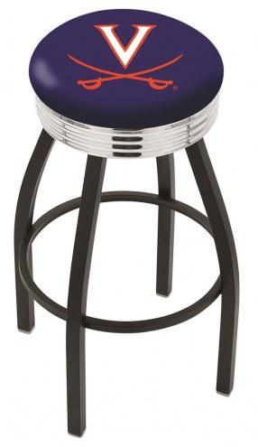 Virginia Cavaliers Black Swivel Barstool with Chrome Ribbed Ring