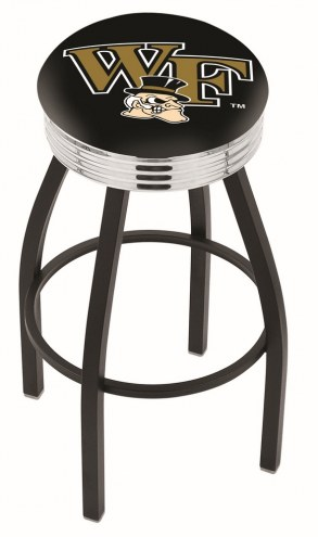 Wake Forest Demon Deacons Black Swivel Barstool with Chrome Ribbed Ring