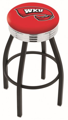 Western Kentucky Hilltoppers Black Swivel Barstool with Chrome Ribbed Ring