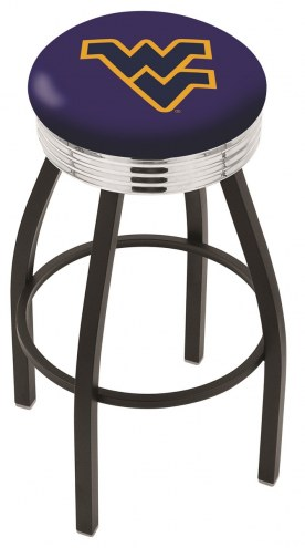 West Virginia Mountaineers Black Swivel Barstool with Chrome Ribbed Ring