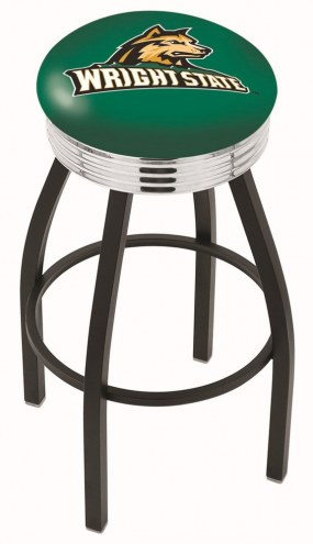 Wright State Raiders Black Swivel Barstool with Chrome Ribbed Ring