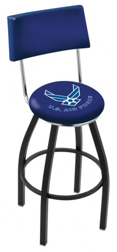 Air Force Falcons Black Swivel Bar Stool with Back