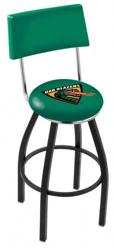 UAB Blazers Black Swivel Bar Stool with Back