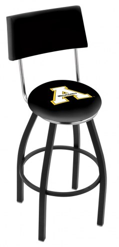 Appalachian State Mountaineers Black Swivel Bar Stool with Back