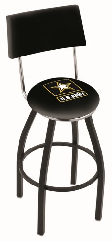 U.S. Army Black Knights Black Swivel Bar Stool with Back