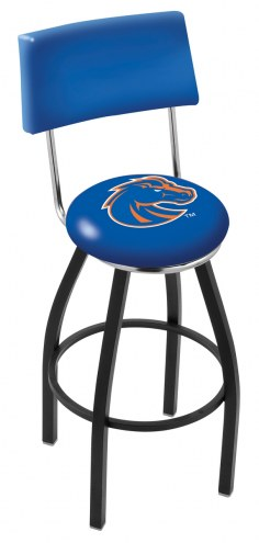 Boise State Broncos Black Swivel Bar Stool with Back