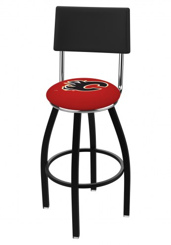 Calgary Flames Black Swivel Bar Stool with Back