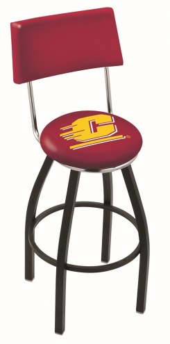 Central Michigan Chippewas Black Swivel Bar Stool with Back