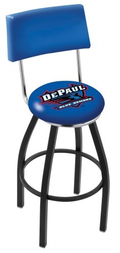 DePaul Blue Demons Black Swivel Bar Stool with Back