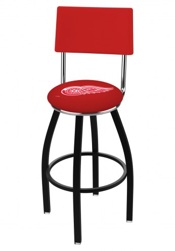 Detroit Red Wings Black Swivel Bar Stool with Back