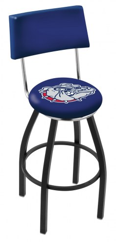Gonzaga Bulldogs Black Swivel Bar Stool with Back