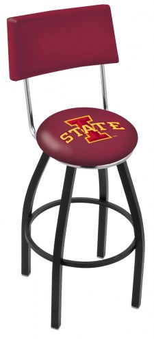 Iowa State Cyclones Black Swivel Bar Stool with Back