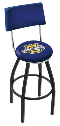 Marquette Golden Eagles Black Swivel Bar Stool with Back