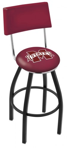Mississippi State Bulldogs Black Swivel Bar Stool with Back
