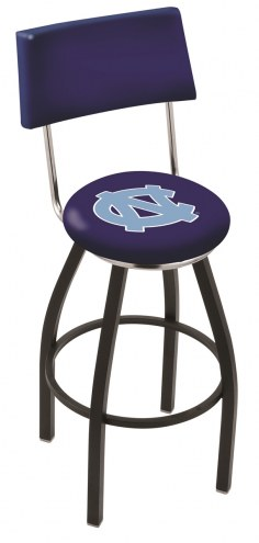 North Carolina Tar Heels Black Swivel Bar Stool with Back