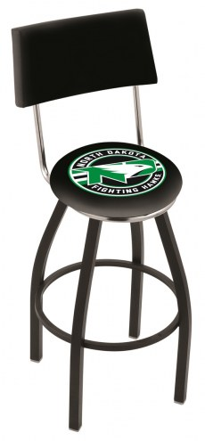 University of North Dakota Black Swivel Bar Stool with Back